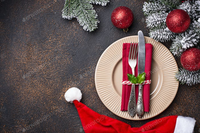 Christmas or New year festive table setting