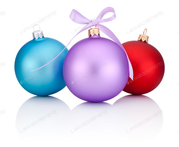 Three christmas balls red, blue and purple with ribbon bow Isola