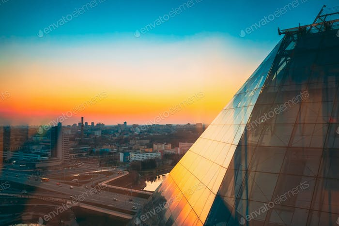Minsk, Belarus. National Library Of Belarus In Sunset Sunrise Ti