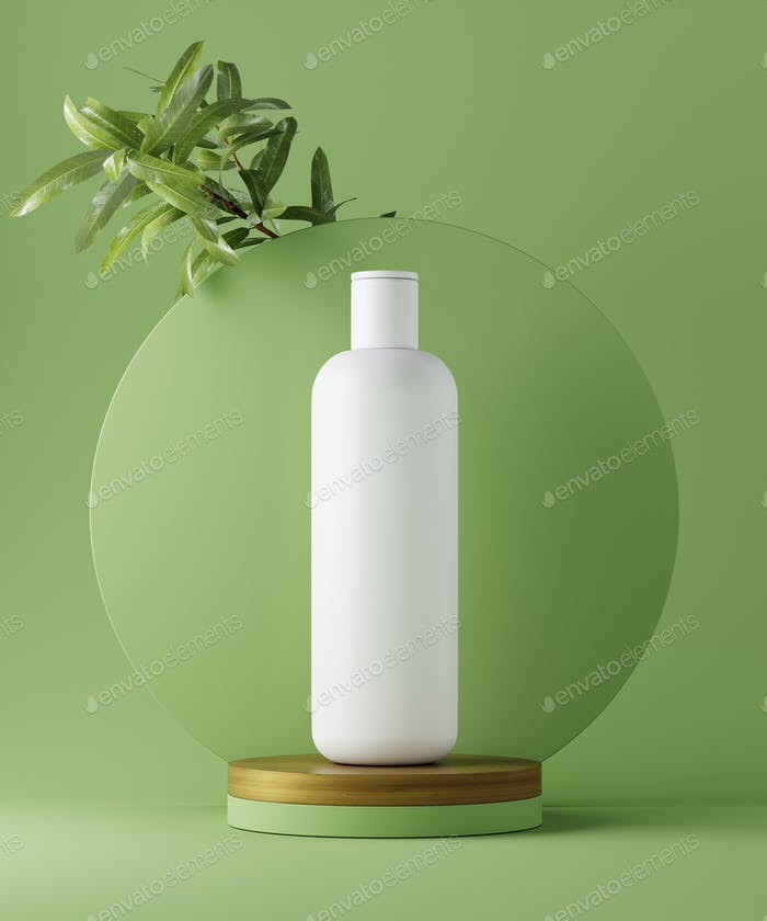 3D illustration geometric pedestal with cosmetic bottle presentation and leaves. Abstract background