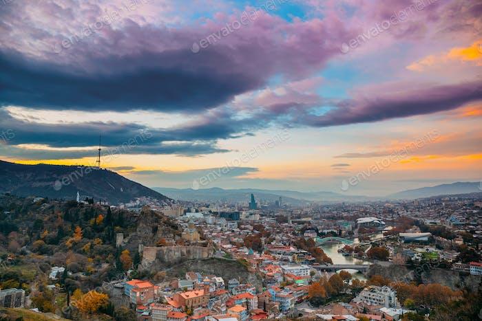 Tbilisi, Georgia. Georgian Capital Skyline Cityscape. Top View O