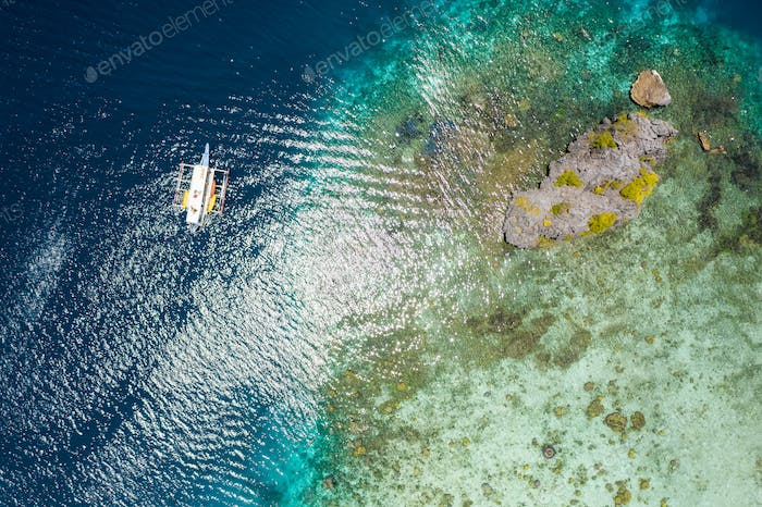 Shimizu Island, El Nido, Palawan, Philippines. Beautiful top down aerial view of lonely hopping trip