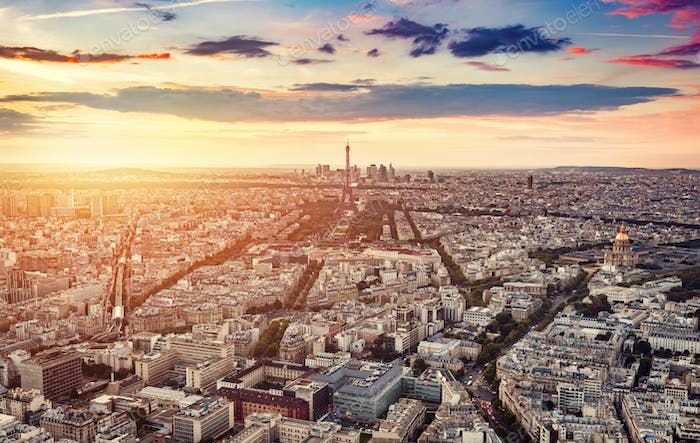 Paris, France at sunset, aerial view.
