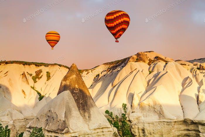Hot air Balloons at sunrise in Cappadocia, Turkey