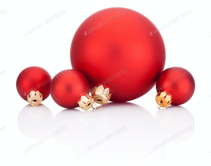 red christmas balls isolated on white background - Red Christmas Balls