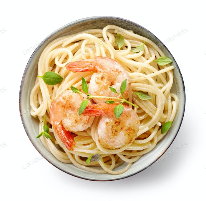 Bowl of spaghetti and fried prawns
