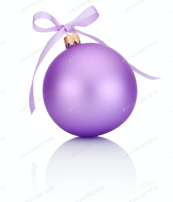 Purple Christmas ball with ribbon bow Isolated on white backgrou