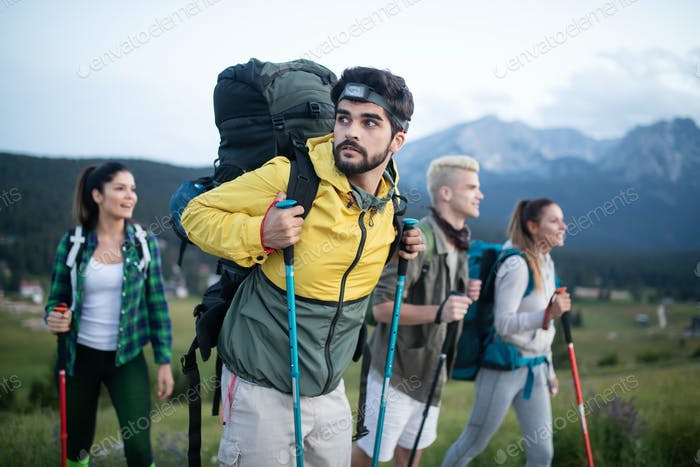 Hard, difficult, tiring and exhausting expedition of four friendson mauntain