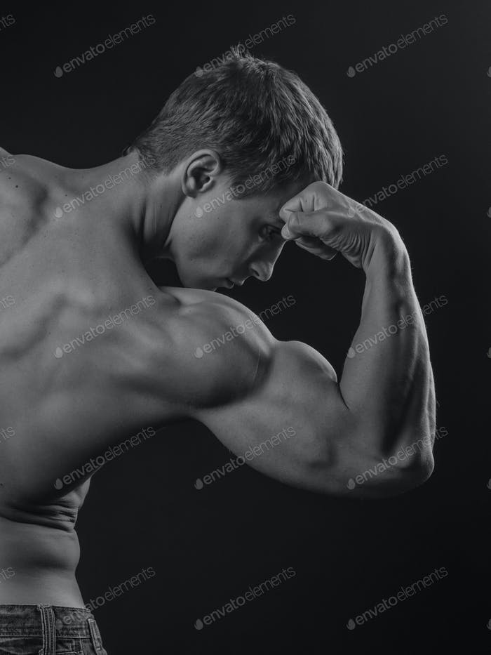 Muscular arm of a fit athlete