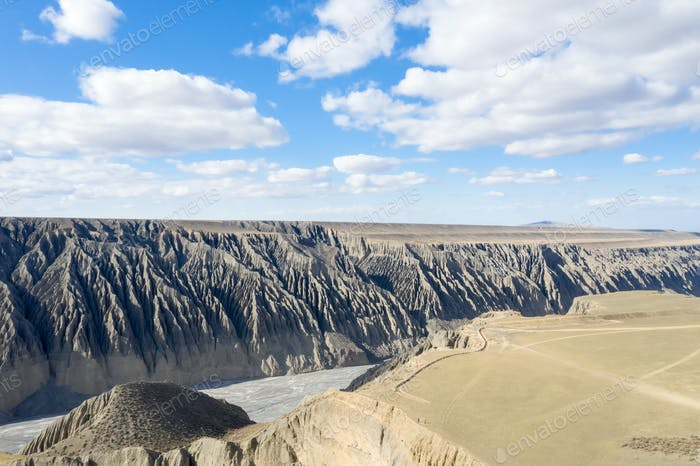 beautiful kuitun grand canyon, the tourist attraction of xinjiang