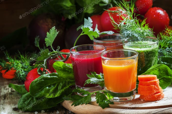 Set of vegetable juice in glasses: beetroot, tomato, spinach, carrots, herbs