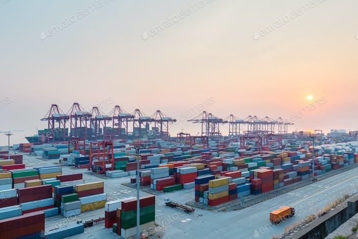 shanghai port at dusk
