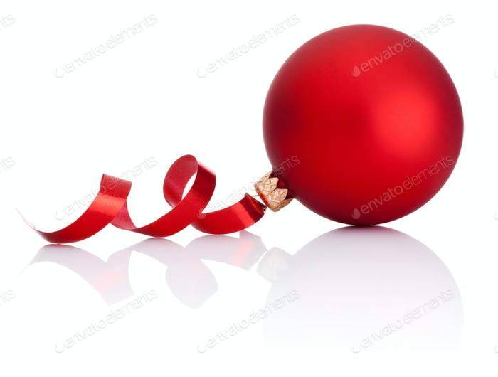 Red Christmas ball and curling paper Isolated on white backgroun