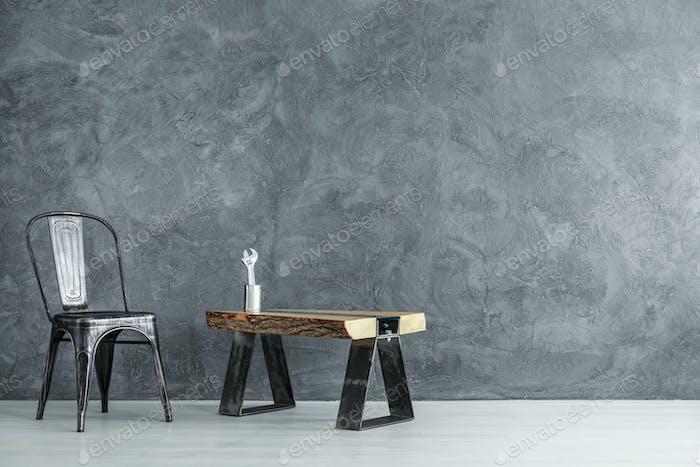 Handyman's dark room with chair