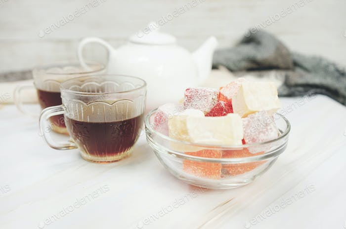 Delicious turkish delights with red tea