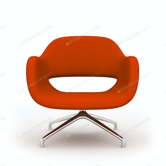 Red modern armchair isolated on white background 3d rendering
