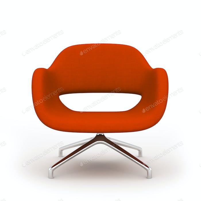 Roter moderner Sessel isoliert auf weißem Hintergrund 3D Rendering