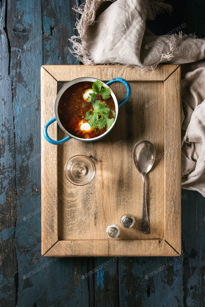 Traditional borscht soup