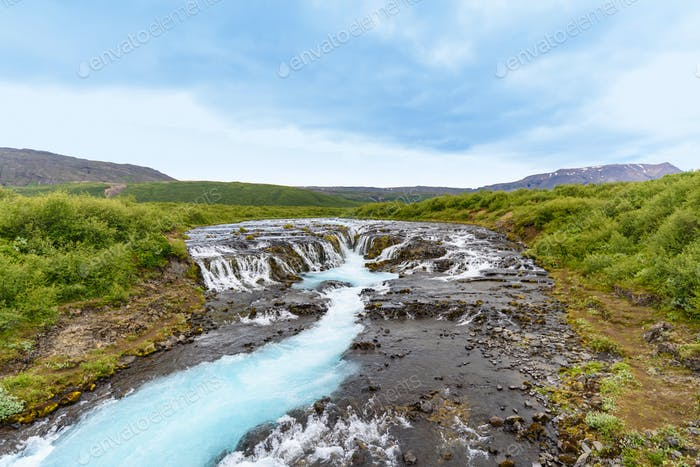view of beautiful Bruarfoss turquoise waterfall, Iceland