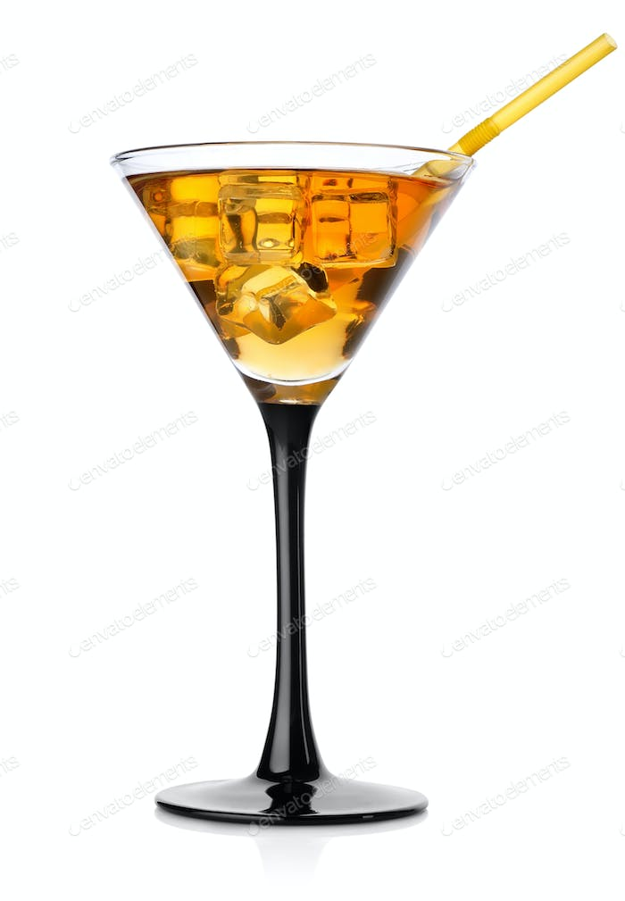 Brown cocktail in a high glass