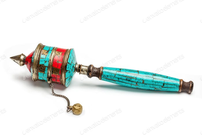 Tibetan buddhist Mani wheel or hand prayer wheel