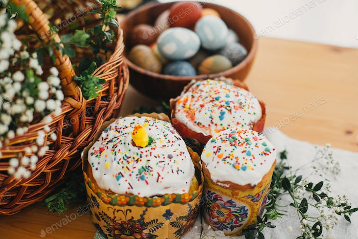 Traditional Easter food on rustic table
