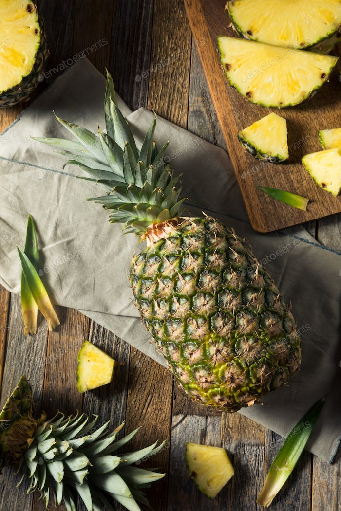 Raw Yellow Organic Pineapple Slices