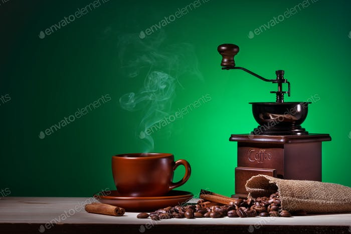 Coffee with steam coffee grinder and coffee beans
