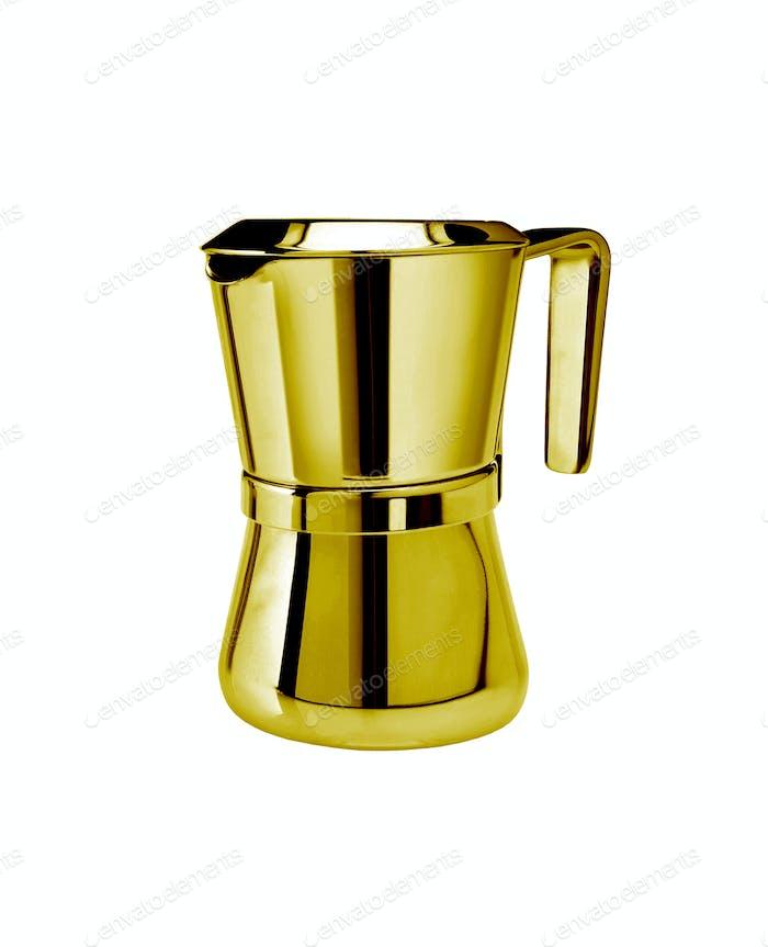 Metal tea pot on white background