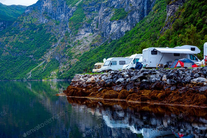 Geiranger fjord, Norway. Family vacation travel RV, holiday trip