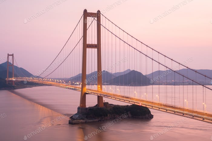 zhoushan xihoumen bridge in sunset