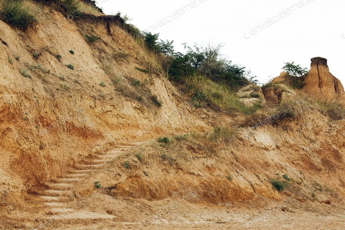 Beautiful view of sandy cliff with steps and grass at sea shore