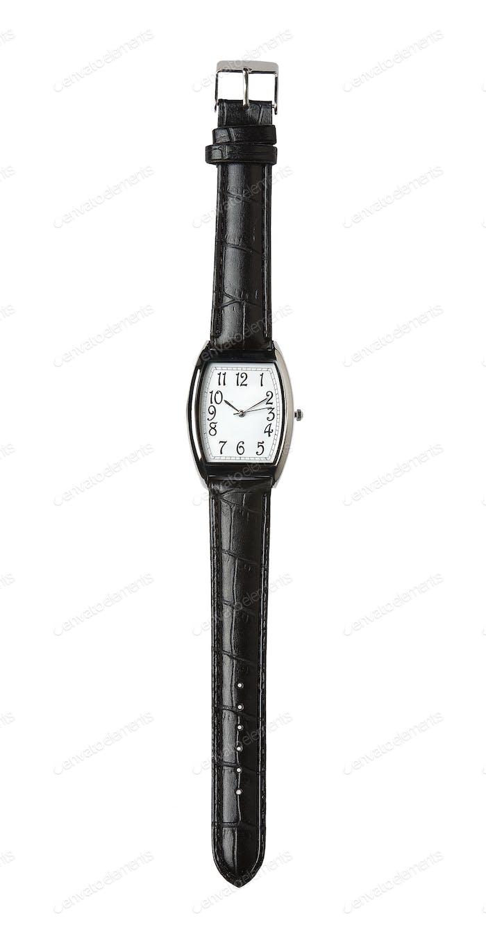 Schwarzes Lederarmband Uhr