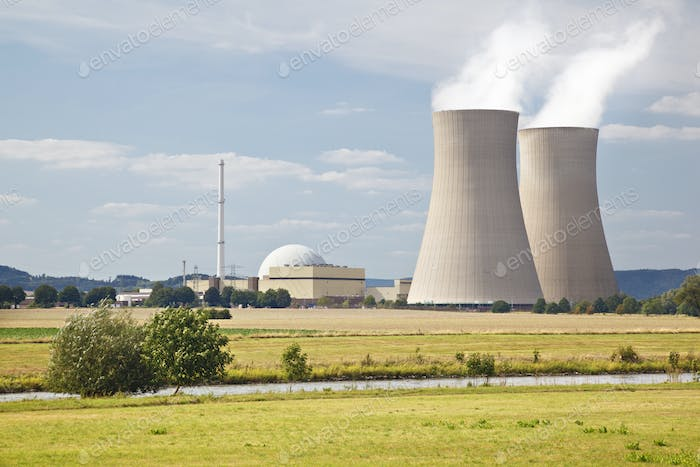 Nuclear Power Station In River Landscape