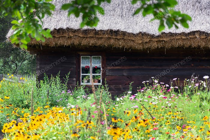 Old wooden house with flower garden