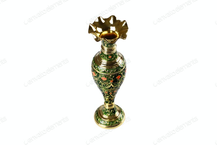 Golden Ornamented Isolated Vase