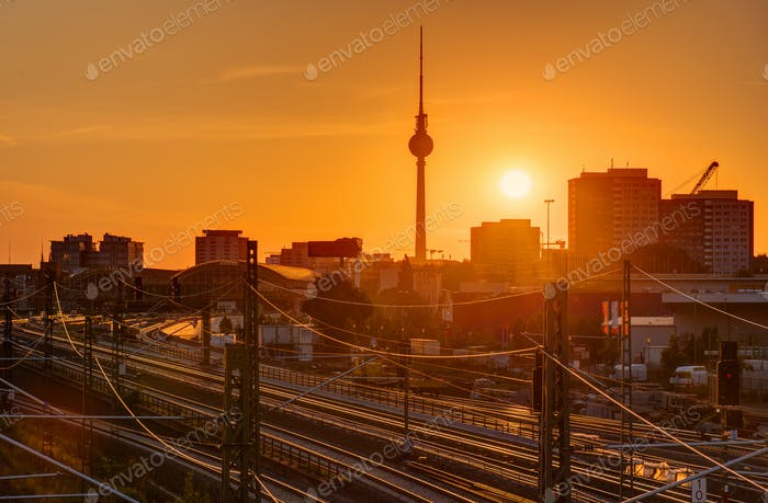 Sunset at the famous Television Tower