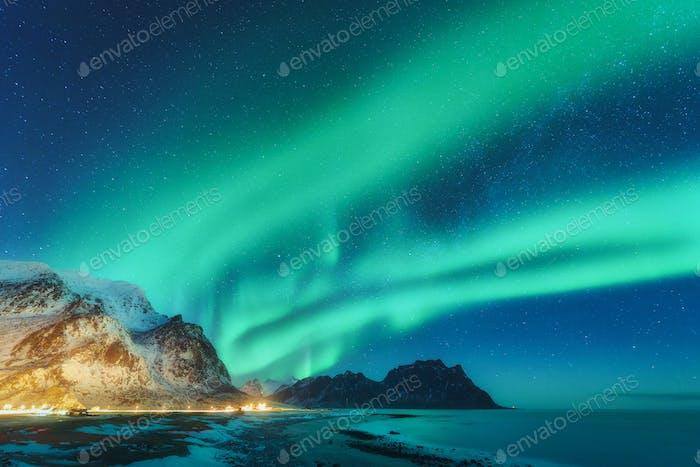 Northern lights in Lofoten islands, Norway. Green Aurora borealis
