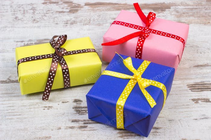 Wrapped colorful gifts for Valentines Day or other celebration