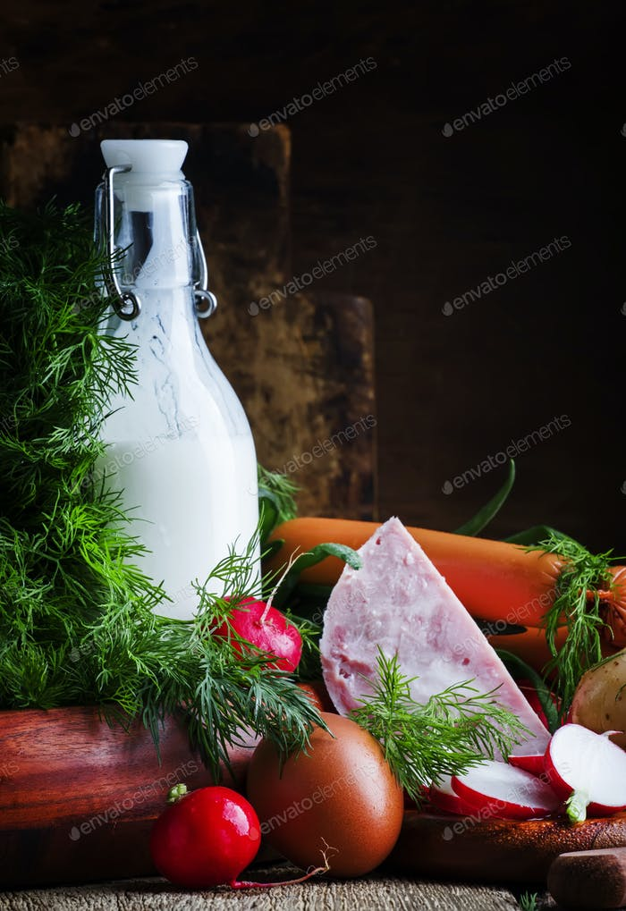 Ingredients for cold soup with vegetables
