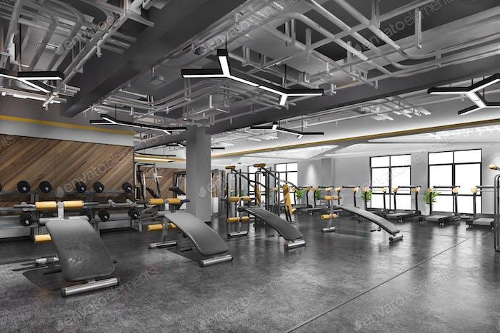 3D Rendering moderne Loft Fitnessstudio und Fitness