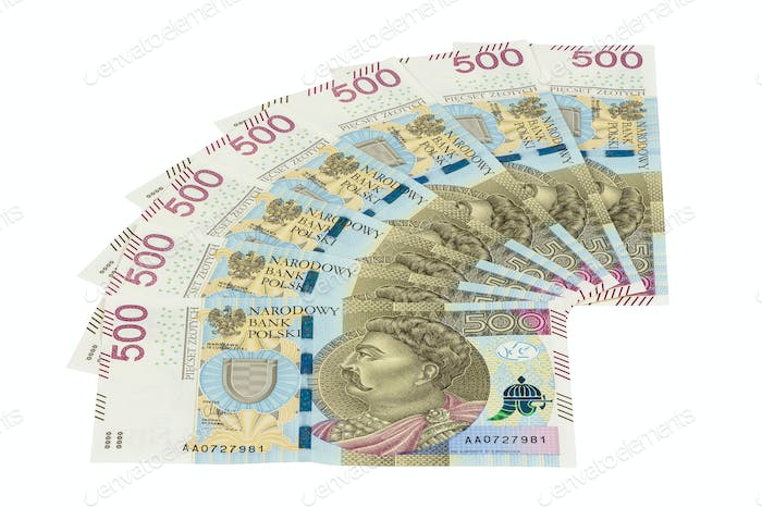 New banknotes of 500 polish zloty on white background