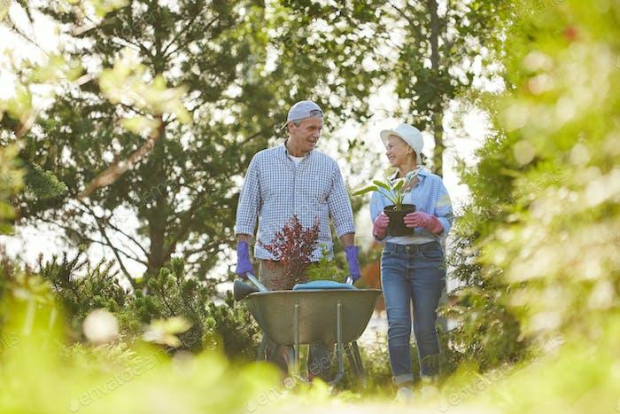Paar Bauern im Garten