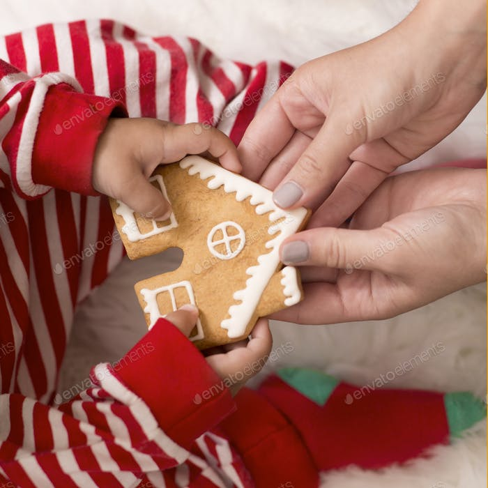 Baby taking Christmas gingerbread cookie from mother
