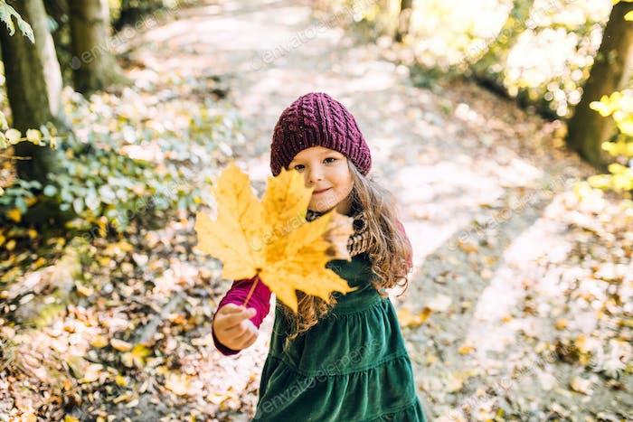 Ein niedriger Winkel Blick auf ein kleines Kleinkind Mädchen stehend im Wald im Herbst Natur