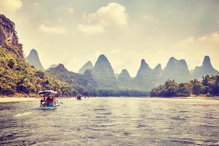 Li River Li Jiang With Bamboo Rafts China Photo By