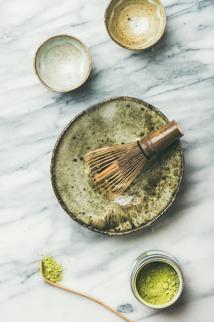 Japanese tools and ceramic bowls for brewing matcha tea