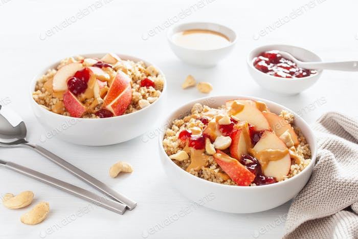 apple peanut butter quinoa bowl with jam and cashew for healthy