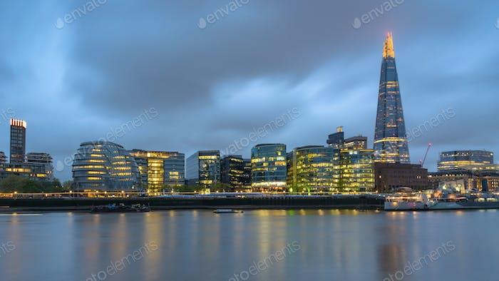 London skyline at dusk on a cloudy day