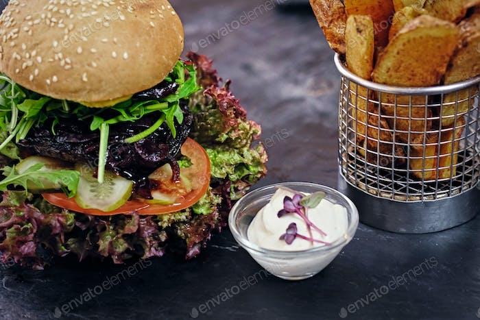 Vegan mushroom burger